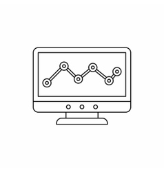 Computer monitor with business graph icon vector image