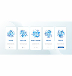 Corporation management onboarding mobile app page vector