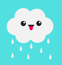 Cute cartoon kawaii cloud with rain drops showing vector