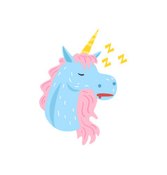 Cute funny unicorn character sleeping and snoring vector