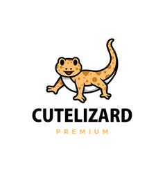 cute lizard cartoon logo icon vector image