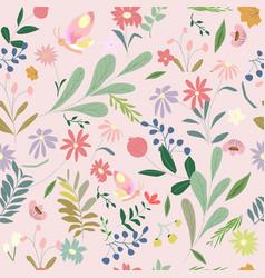 cute sweet botanical flower seamless pattern vector image
