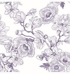 Different beautiful flowers seamless pattern vector