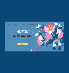 fairy girl web landing page magic faery vector image