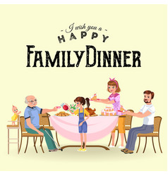 Family eating dinner at home happy people eat vector
