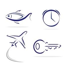 Fish Key Clock Plane icons vector image