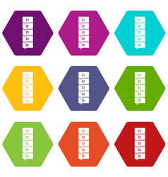 five steps infographic icon set color hexahedron vector image