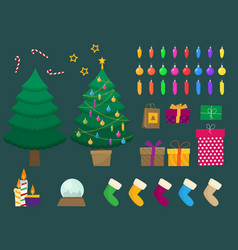 flat christmas and new year set vector image