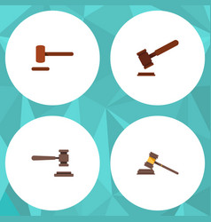 flat icon court set of defense justice court and vector image vector image