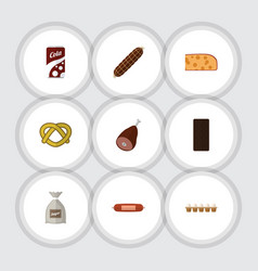 Flat icon eating set of kielbasa fizzy drink vector