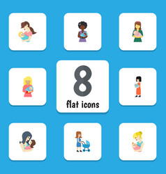 Flat icon mam set of mam newborn baby parent and vector