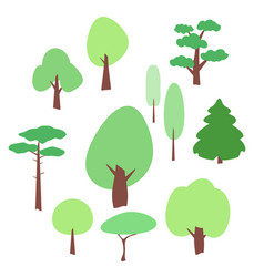 flat tree icons set on a white vector image