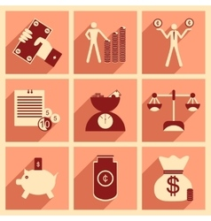 Flat with shadow concept Stylish economic icons vector image