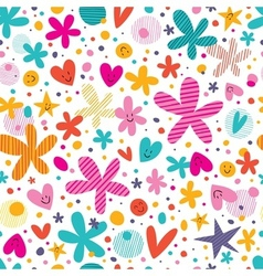 Flowers and hearts pattern vector