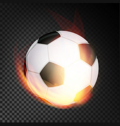 football ball in fire realistic burning vector image vector image