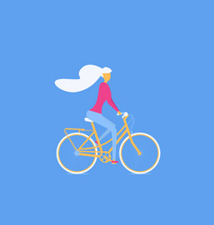 girl riding a bicycle otdoor activity traveling vector image