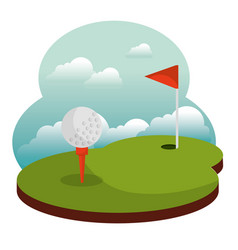 golf course hole flag and ball vector image