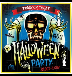 Halloween Party Design template with skull zombie vector image