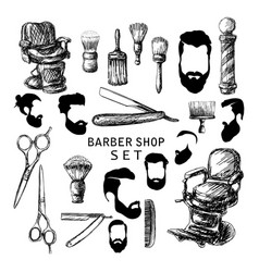 hand drawn barber shop set vector image