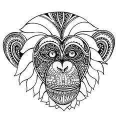 Hand drawn monochrome of ornate zentagle chi vector image