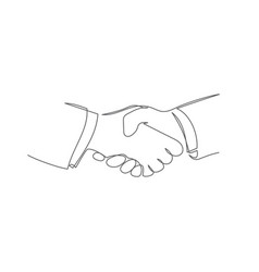 handshake one line drawing vector image