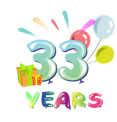 happy birthday thirty three 33 year vector image