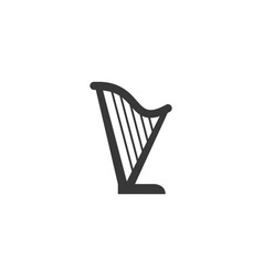 harp silhouette icon on white background vector image