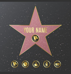 Hollywood walk fame star name template vector
