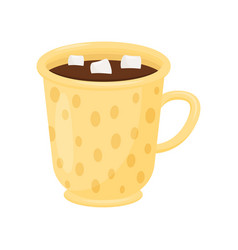 hot chocolate with marshmallows in yellow mug cup vector image