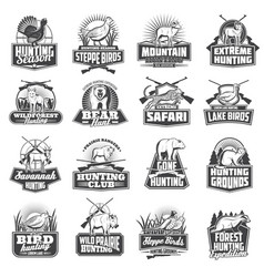 Hunting sport ammo hunter animals trophy icons vector