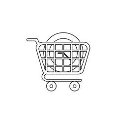 Icon concept clock in shopping cart black vector