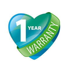 logo in the form of heart 1 year warranty vector image