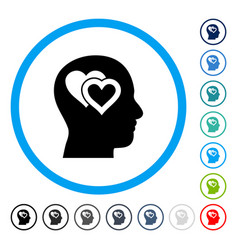 Love in mind rounded icon vector