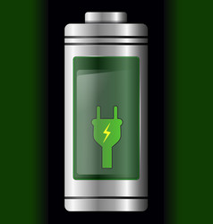 Metal with glass battery green charge symbol vector