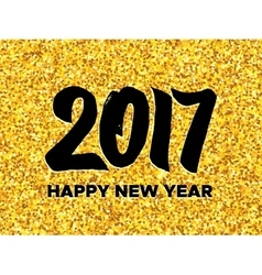 New Year 2017 greeting card with gold glittering vector image
