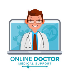 online doctor man medical consultation vector image