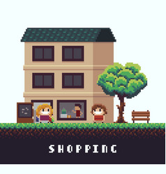 Pixel shopping vector