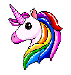pixel unicorn head isolated vector image