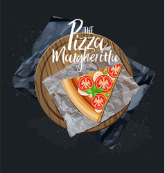 pizza margherita slice without background vector image