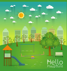 Playground natural landscape in the flat style a vector