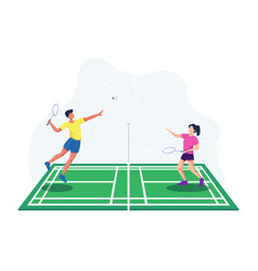 Playing badminton vector