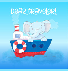 poster cute little elephant floats on a boat vector image