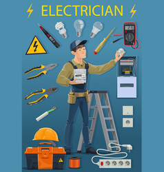 Profession electrician electricity tools lamp vector