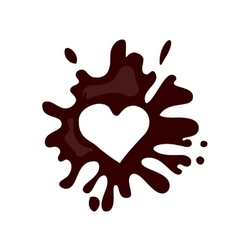 Realistic hot chocolate heart splash vector