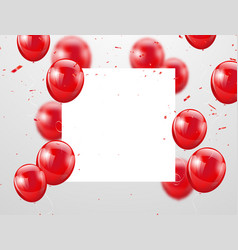 red balloons confetti and ribbons celebration vector image