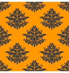 seamless dark blue floral pattern vector image