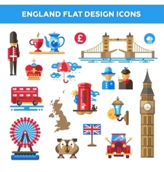 set flat design england travel icons vector image