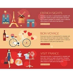 set france travel horizontal banners with place vector image