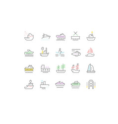 Set line icons maritime transport vector