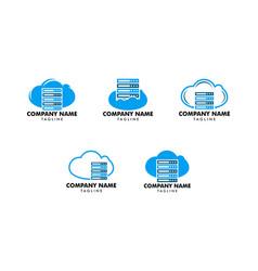 set of cloud server computer logo design template vector image